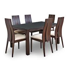 Buy Carlton Glass Top Six Seater Dining Set Burn Beech Online In - Beech kitchen table