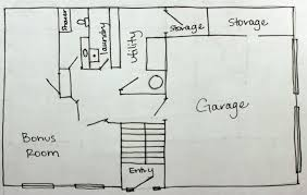 hand drawn basement floor plan