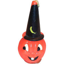 vintage gurley novelty halloween pumpkin witch candle from