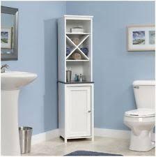 White Towel Cabinet Bathroom White Linen Tower Towel Organizer Furniture Shelves Wood