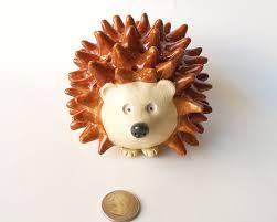 Crossed Flag Pins Hedgehog Figurine Handcrafted Handmade Hedgehog Ooak