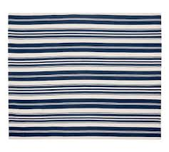 Recycled Outdoor Rugs Oxford Stripe Recycled Yarn Indoor Outdoor Rug Blue Pottery Barn