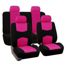 Pink Flat Color Amazon Com Fh Fb050114 Flat Cloth Car Seat Covers Pink Black