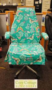 turquoise chair slipcover cozy cottage slipcovers butterfly office chair slipcover