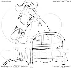 Drawing Of A Bed Clipart Of A Cartoon Black And White Lineart Sleepy Moose Setting