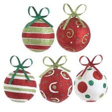 raz glittered metal ornament set of 5 5 assorted