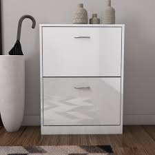 White Shoe Storage Cabinet Torino 2 Drawer Shoe Storage Cabinet In White High Gloss 6 Pairs