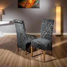 Patterned Dining Chairs Luxury Set Of 2 High Back Fabric Dining Chairs Black Grey Baroque