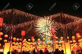 firework lantern firework show at lantern festival chiayi taiwan stock photo