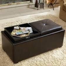 Black Leather Storage Ottoman Flip Top Storage Ottoman Wood Tray Top Leather Espresso Tray Top