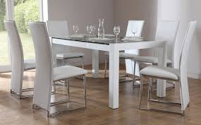 dining room the most galaxy round clear glass table and 4 white