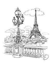 vector sketch of a view of the river seine from the eiffel tower