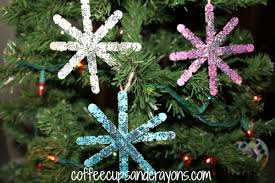 craft snowflake ornaments coffee cups