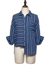 navy blue blouse navy blue viscose sleeve stripes asymmetric blouse stylewe com