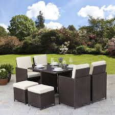 8 seat patio table rattan cube garden furniture set 8 seater outdoor wicker 9pcs brown
