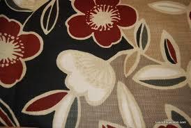 Modern Retro Upholstery Fabric Retro Modern Barkcloth Heavy Textured Red White Black Tan Flowers