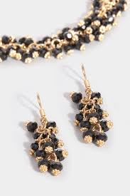 black bead necklace images Gold black beaded necklace earrings set jpg