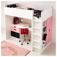 bedroom ikea loft bed with desk and closet medium brick wall