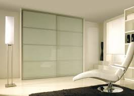 Bypass Closet Doors Modern Sliding Closet Doors With Glass Panel And Gray Brushed