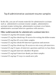 Resume Samples For Executive Assistant by Top 8 Administrative Assistant Resume Samples 1 638 Jpg Cb U003d1429860002