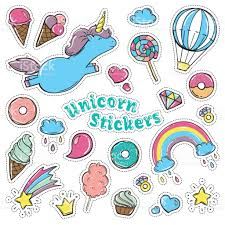 unicorn sweet set of stickers pins patches in cartoon comic style