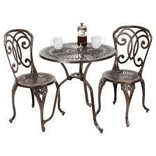Copper Bistro Chair Cornwall 3pc Cast Aluminum Patio Bistro Set Shiny Copper