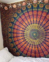 Thick Wall Tapestry Marubhumi Indian Traditional Hippie Cotton Tapestry Rainbow Boho