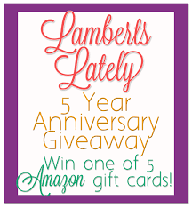 5 gift cards 5 year anniversary giveaway win one of 5 gift cards