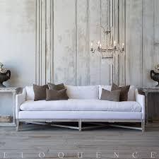 eloquence scandinavian sofa in white linen and worn oak finish