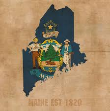 Maine Flag Image Maine State Flag Map Outline With Founding Date On Worn Parchment