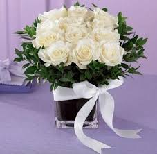 White Roses Centerpiece by Square Vases For Centerpieces Mini Rose Centerpiece Comes In