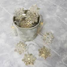10 battery powered silver snowflake string lights