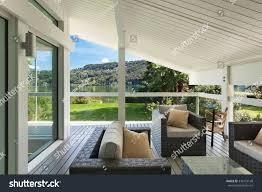 www housebeautiful modern house beautiful veranda furniture stock photo royalty free