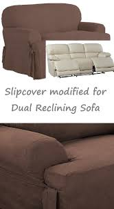 Dual Reclining Sofa Slipcover Reclining Sofa Slipcover T Cushion Suede Chocolate Sure Fit