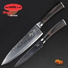 haoye 2 piece damascus kitchen knife sets japanese vg10 blade