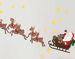 Christmas Reindeer And Sleigh Decorations by Christmas Wall Decal Etsy