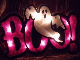 Lighted Halloween Decorations Windows by Lighted Boo Sign With Ghost Halloween Window Silhoutte Decoration