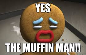 Unhappy Meme - ginger bread man unhappy at being called the muffin man meme your