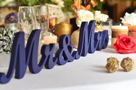 Mr And Mrs Sign For Wedding Painted In Navy Blue Mr U0026 Mrs Wedding Reception Sign Mr And Mrs