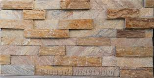 Stacked Stone Veneer Backsplash by Brown And Rusty Multicolor Quartzite Wall Stone Cladding Corner