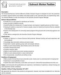Resume To Work Outreach Worker Position Description The Crossroads Job Posting