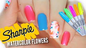 diy watercolor sharpie nail art nail hack youtube