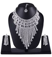diamond set designer silver plated american diamond necklace set indian bridal