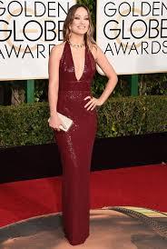 Red Carpet Gowns Sale by Olivia Wilde Burgundy Sequin Celebrity Dresses Golden Globes 2016