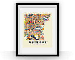 Map St Petersburg Florida by St Petersburg Florida Map Print Full Color Map Poster U2013 Ilikemaps