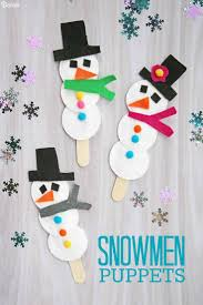 snowman puppet easy winter craft for kids darice cotton pads