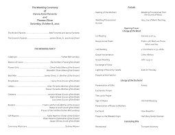 easy wedding program template catholic wedding program template 7