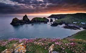 oceans landscape dusk flowers spring sunrise water mountains