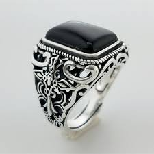 aliexpress buy mens rings black precious stones real square black onyx solid silver 925 men ring wide cuff
