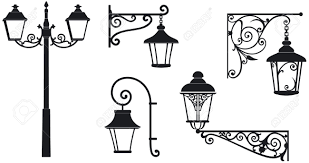 iron wrought lanterns with decorative ornaments vector